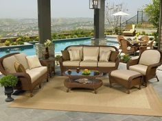 "North Cape Wicker Montclair 6 Piece Conversation Package by NorthCape. $3222.94. Fully wrapped wicker frame sporting luxurious contours. 6"" thick cushions with Dacron fill that include Sunbrella fabric. Beautiful cedar or cappuccino resin wicker matches most decors. Premium Deep Seating with comfortable suspension. Rust free and fully ready for the outdoors. The beautiful Montclair collection from NorthCape blows fresh memories of the Eastern Sea Coast into your home, w..."