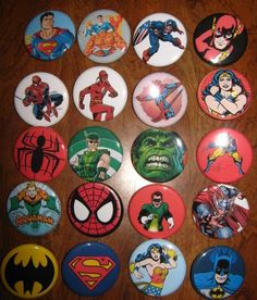 20 Pin Back Button Party Favors Assorted Superhero (set 2) 1.25 inch Buttons