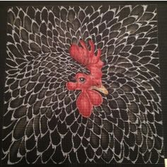 canvasworks no name chicken needlepoint canvas (black)