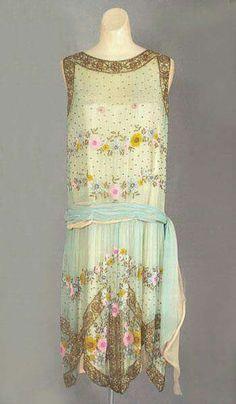 1924, France Beaded silk chiffon evening dress Vintage Textile