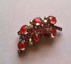 Pink givre rhinestone leaf brooch  by TooSweetMagnolias on Etsy, $33.00