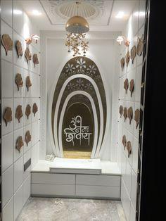 Gold metal wall art Temple Room, Temple Design For Home, Home Decor Hooks, Mandir Design, Pooja Room Door Design, Green Interior Design, Puja Room, Apartment Design, Interior Design Living Room