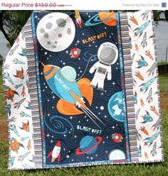 Space Quilt, Baby Boy, Blast Off, Outer space Spaceship, Rocket Planets Moon, Crib Bedding, Nursery Decor, Blue Red Orange, Astronaut
