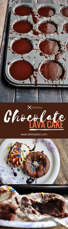 Gooey inside and firm outside, this amazing restaurant-trendy chocolate lava cake only requires 5 ingredients and 30 minutes. It is to DIE FOR! Healthy Dessert Recipes, Easy Desserts, Baking Recipes, Delicious Desserts, Yummy Food, Kitchen Recipes, Healthy Food, Sweets Recipes, Free Recipes