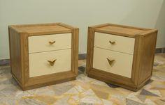 Bedside tables in ash solid wood, lacquered in walnut and ivory color.