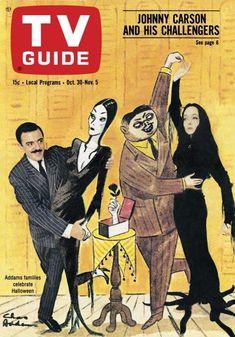 TV Guide, October 1964 — John Astin & Carolyn Jones in The Addams Family-Great show! Addams Family Tv Show, Adams Family, John Astin, Gomez And Morticia, Charles Addams, Carolyn Jones, Johnny Carson, The Munsters, Vintage Tv