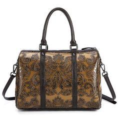 3303cd8f1cb Hot-sale designer Brenice Genuine Leather Women Shoulder Bag Vintage Brush  Color Embossed Craft handbag