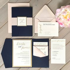 Pocket Invitations Modern Calligraphy Navy and Blush Invitations Navy Pocket Invitations Navy and Gold Invitations Blush Monogram Band Pocket Wedding Invitations, Modern Wedding Invitations, Wedding Invitation Wording, Wedding Cards, Wedding Day, Event Invitations, Rustic Wedding, Wedding Venues, Invitation Design