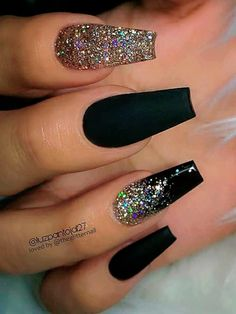Awesome coffin nails are the hottest nails now. We collected of the most popular coffin nails. So, you don't have to spend too much energy. It's easy to find your favorite coffin nail design. Gold Sparkle Nails, Black Nails With Glitter, Black Coffin Nails, Black Acrylic Nails, Coffin Shape Nails, Best Acrylic Nails, Black Ombre Nails, Glitter Ombre Nails, Black Wedding Nails