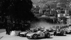 Stirling Moss and Fangio in the 1955 Monaco Grand Prix