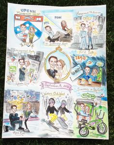 Custom Wedding Storyboard Illustration made for gift from Bride to Groom