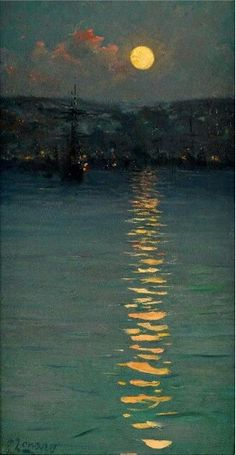 Fausto Zonaro ( 1854 – Was an italian painter, best known for his Realist style paintings of life and history of the Ottoman Empire. Painting Inspiration, Art Inspo, Nocturne, Moon Art, Fine Art, Aesthetic Art, Aesthetic Wallpapers, Landscape Paintings, Landscapes