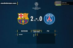 Termina el primer tiempo, @FCBarcelona 2-0 @PSG_inside , global 5-1 http://gol.am/1bglTVr