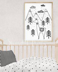 Nursery Black and White LLAMA in the FOREST Print, Nursery Wall Art, Monochrome Poster, Kids Birthday Card, Animal Print, Digital Download