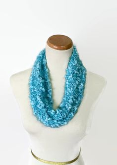 Mini Cowl Aqua Cowl Hand Knit Cowl Knit Cowl by ArlenesBoutique #knitcowl #knitscarf, #scarf