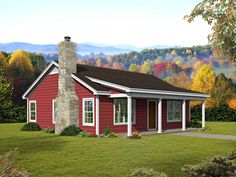This rustic 1-story, 2 bed, 1 bath country ranch home plan has 1000 sq ft of space. It includes a covered front porch, fireplace & vaulted ceilings. #ranch #houseplan