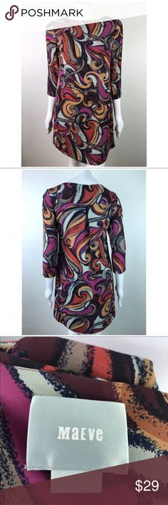 """Anthropologie Maeve Dress Shift 3/4 Sleeve Lined Measurements taken with garment laying flat and are approximate.  Pit to pit: 17.5"""" Length from top of the shoulder: 34""""  Comes from smoke free environment. Maeve Dresses"""