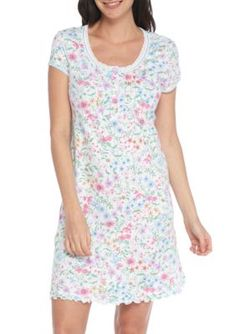 Miss Elaine Women's Cottonessa Short Nightgown - Wildflower - Xl