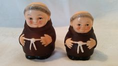 Goebel Friar Tuck Monk Salt and Pepper Shakers, made in germany, By Mark Hummell, hand painted, vintage salt and pepper shakers, collectable by Vintagepetalpushers on Etsy