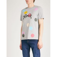 PS BY PAUL SMITH Spots and Glasses cotton-jersey T-shirt ($85) ❤ liked on Polyvore featuring men's fashion, men's clothing, men's shirts, men's t-shirts, mens patterned t shirts, mens patterned shirts, mens short sleeve polka dot shirt, mens union jack shirt and mens short sleeve straight hem shirts