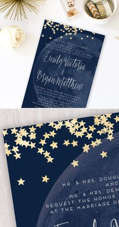 Moon and Stars Printable Wedding Invitation. Custom Navy and Gold Invitation. Night Sky - Invitatioin Card - Ideas of Invitatioin Card - Moon & Stars Printable Wedding Invitations, Modern Wedding Invitations, Wedding Invitation Wording, Wedding Themes, Wedding Stationery, Wedding Cards, Wedding Venues, Wedding Destinations, Wedding Vows