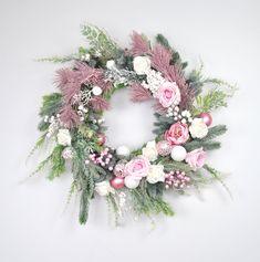 Christmas wreath, Large Christmas wreath for front door, Pink christmas wreath, Winter wreath front door, Xmas decoration, READY TO SHIP