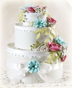 A Bella Blvd. Wedding Cake by Laurie Schmidlin. Diy Birthday Cake, Birthday Crafts, Shabby Chic Crafts, Paper Cake, Pretty Box, Beautiful Wedding Cakes, Box Cake, Wedding Paper, Love And Marriage