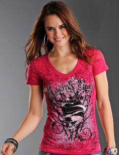 Rock & Roll Cowgirl Women's Short Sleeve Heart and Thorns Burnout Tee Shirt - Hot Pink