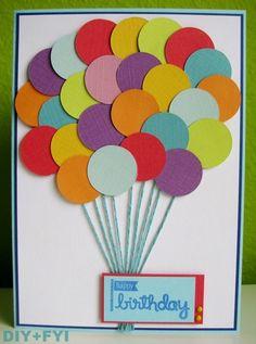 30 Handmade Birthday Card Ideas - DIY Birthday Cards – Cute Balloons Birthday Card – Easy and Cheap Handmade Birthday Cards To Ma - Bday Cards, Kids Birthday Cards, Birthday Crafts, Birthday Ideas, Birthday Card For Teacher, Homemade Birthday Cards, Homemade Cards, Karten Diy, Cute Cards