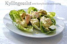 Kyllingsalat med karry/basilikum dressing