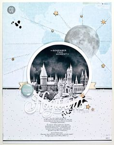 *hogwarts in the snow* by JanineLanger at @studio_calico #studiocalico #scrapbooking #scrapbook