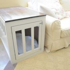 rustic style dog crate with clear lines | woodworking - indoor