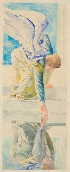 """""""The Pool At Bethesda: The Angel Troubling The Water,"""" John La Farge, 1898, watercolor with graphite on cream Japanese vellum paper, 13 5/8 x 5 1/4"""", Worcester Art Museum."""