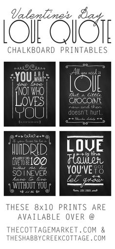 free set of four Valentine's Day chalkboard printables
