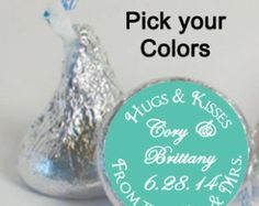 Custom Candy Labels Turquoise Black Hearts by digitaldoodlebug