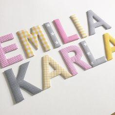 Stoffbuchstaben in rosa/gelb/grau für die beiden Schwestern Emilia und Karla  #stoffbuchstaben #norabellahome #girlsroom #mädchenzimmer #wallletters #doorletters #buchstaben #name #kinderzimmerdeko #kinderzimmer #babyzimmer #baby2016 #babygeschenk #handmade #handgemacht #handmadewithlove