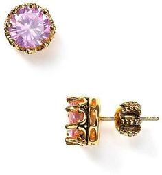 princess stud earrings in pink :: juicy couture