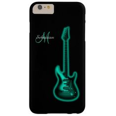 Personalized Green Electric Guitar Music iPhone 6 Case. Electric teal green on black. Fill in your name and initial to personalize and customize anyway you like.  A great gift for your favorite guitar player, musician or music lover.  #music  #guitar  #iPhone6  #iPhone