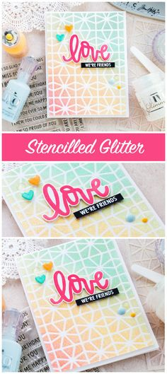 Stencilled glitter handmade card by Debby Hughes using products from Neat & Tangled and Tonic Studios. Find out more here: http://limedoodledesign.com/2018/02/stencilled-glitter/