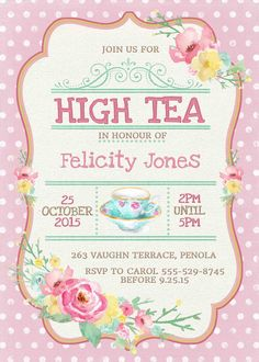 Kitchen Tea Invitation or High Tea by WestminsterPaperCo on Etsy