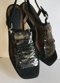 Marni Embellished Glitter Suede Sandals Black Platforms. Get the must-have platforms of this season! These Marni Embellished Glitter Suede Sandals Black Platforms are a top 10 member favorite on Tradesy. Save on yours before they're sold out!