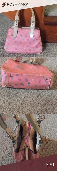 """Dooney and Burke Satchel Bag Pink multi color """"DB"""" top handle bag. Two magnetic pockets and one multi color zipper pocket with cell phone holder and leather key holder. Minor scratches. Please contact for additional inquiries! Dooney & Bourke Bags"""