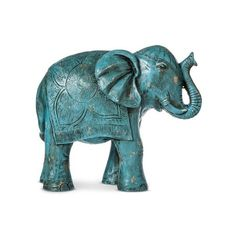 Boho Boutique Decorative Elephant - Turquoise ($20) ❤ liked on Polyvore featuring home, home decor, turquoise home accessories, elephant home decor, boho style home decor, bohemian style home decor and bohemian home decor
