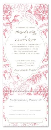 All in One Wedding Invitations - Vintage Peonies (Send and sealed format)