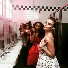 Little Mix at their Love Me Like You music video set!! YAS!