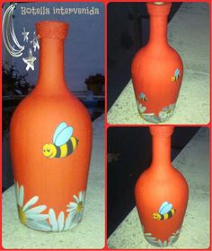 Botella intervenida. Pintada a mano con acrílico en color ROJO y con aplicaciones de DECOUPAGE con motivos de MARGARITAS y ABEJAS. Además tiene termi...