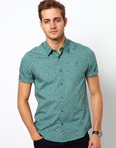 Slick green pattern, light and simple for spring (pair it with shorts, boys) / ASOS Shirt With Print