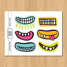 Ghoulish Grins PRINTABLE Monster mouths by chachkedesigns on Etsy
