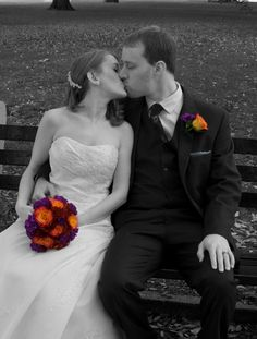 Fall wedding in black and white with a pop of color... purple, orange, and burgundy!