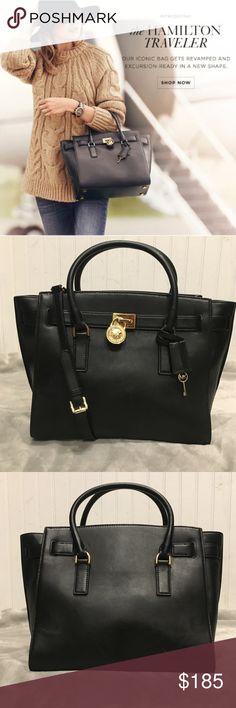 06f0c05e5ad9 Michael Kors Large Black Hamilton Traveler EUC MICHAEL Michael Kors soft  Vitelo leather satchel bag w
